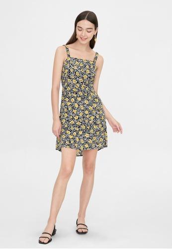 Pomelo black Mini Floral Open Back Dress - Black 3D0DCAAC308AD5GS_1