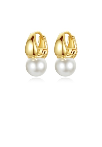 Glamorousky white Fashion Simple Plated Gold Geometric Imitation Pearl Earrings 63DA2ACD5A2164GS_1