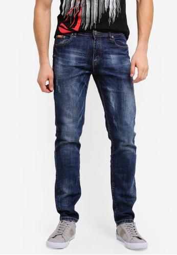 Fidelio 藍色 518 Slim Fit Strechable Washed Denim 70296AA3C6AB19GS_1