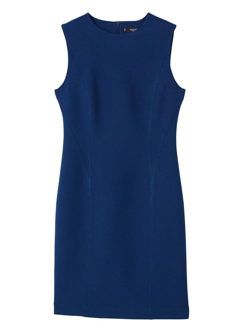 Mango Dress Seam Blue Medium Bodycon wTXWqzcS