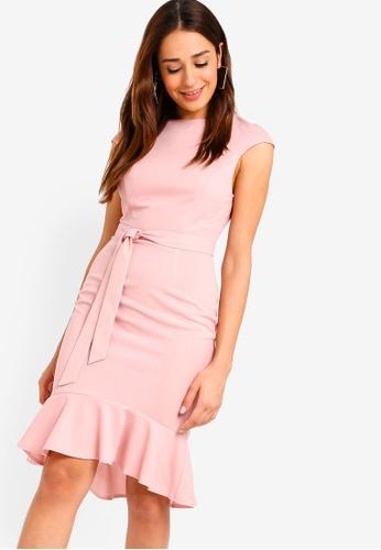 ZALORA pink Mermaid Hem Sheath Knit Dress 22165AA57F91C9GS_1