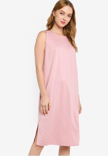 ZALORA WORK pink Midi Sleeveless Shift Dress F0AB5AAA917219GS_1