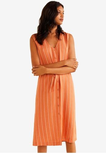 MANGO orange Cord Striped Dress 1FF1FAAB649B93GS_1