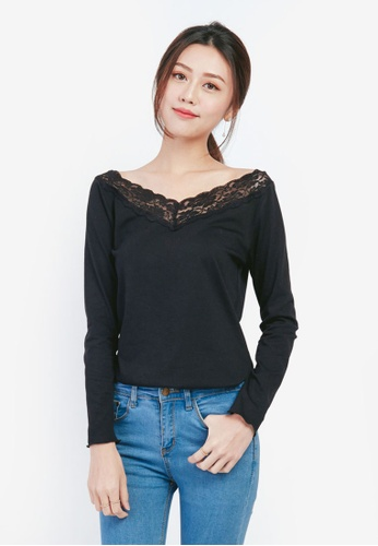 YOCO black Floral Embroidered Blouse 6DC53AA78BC524GS_1