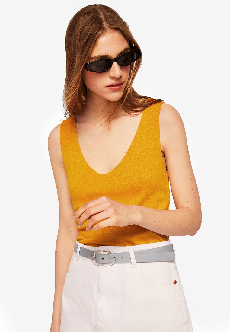 Knit Medium Fine Yellow Top Mango 07qwx54t
