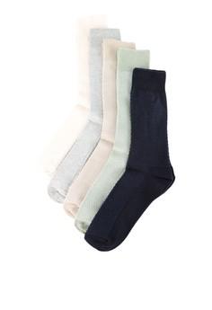 Topman-綜合顏色 Waffle 質感 5入包 襪子