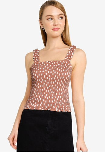 Abercrombie & Fitch beige Smocked Wide Strap Cami Top 53555AAC4AE1D2GS_1