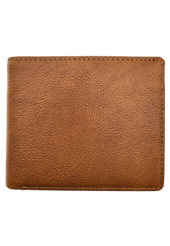 LUXORA brown and orange The Ninja Co. Coin Pocket Wallet - Full Grain Leather Cowhide - Card Men Women Purse Gift Brown 951C5AC2FA94CBGS_1