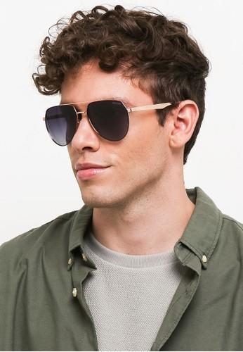 Urban State gold Polarized Metal Flat Top Aviator Sunglasses EAB32GLECA3AC4GS_1