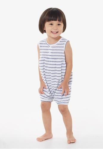 Gen Woo white Striped Baby  Romper 53C00KAF14793DGS_1