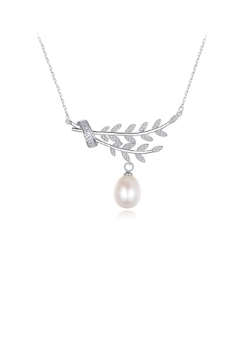 Glamorousky white 925 Sterling Silver Elegant and Fashion Leaf White Freshwater Pearl Pendant with Cubic Zirconia and Necklace D8A60ACBA23B42GS_1