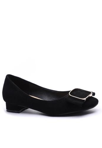 Twenty Eight Shoes 方頭方扣絨面高踭鞋1205-12 FAE3BSHC83AC73GS_1