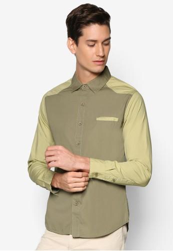 拼色長袖襯衫esprit專櫃, 服飾, 襯衫