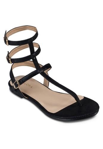 扣環繞踝平底羅馬涼zalora 衣服尺寸鞋, 女鞋, 涼鞋