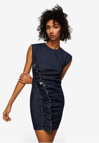 Mango blue Frilled Denim Dress 8195EAAC4C84C5GS_1