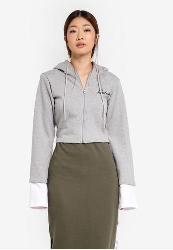 Stylenanda grey Extended Sleeve Cropped Zip-Up Hoodie ST343AA0SXJZMY_1