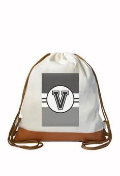 Drawstring Bag Monochrome Sporty Initial V