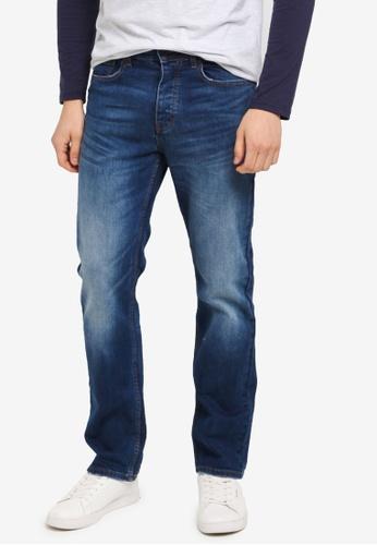 Burton Menswear London blue Mid Blue Logan Straight Leg Jeans BU964AA0T1GPMY_1