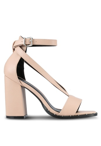 Something Borrowed beige Strappy Square Toe Block Heel 23B7FSH0A036BAGS_1