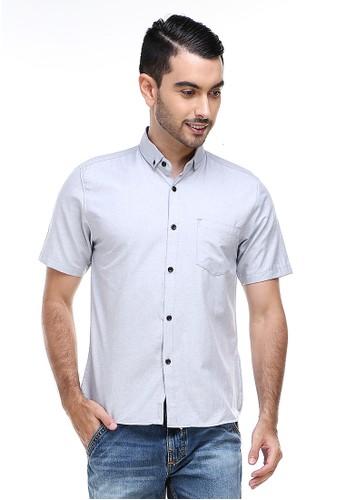 Hamlin grey Hamlin Dwan Casual Shirt Kemeja Polos Pria Lengan Pendek Kasual Formal Material Cotton ORIGINAL - Gray 49FBCAA70D3B7FGS_1