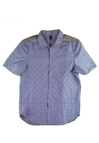 雙色格esprit 澳門紋拼接襯衫, 服飾, 短袖襯衫