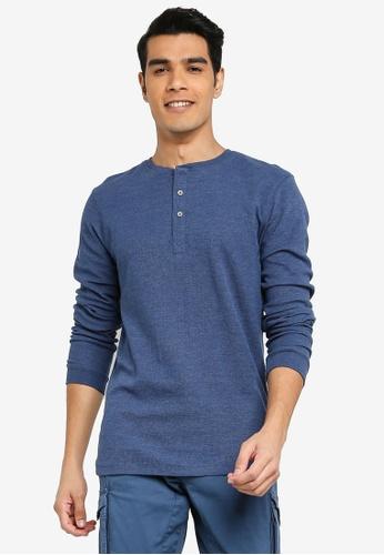BLEND blue Henley Collar Long Sleeve T-Shirt E4EB3AA258A3B9GS_1
