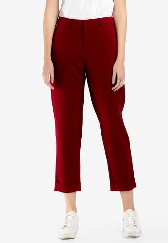 Hopeshow red Slim Fit Cuffed Pants E526EAAB93AAC2GS_1