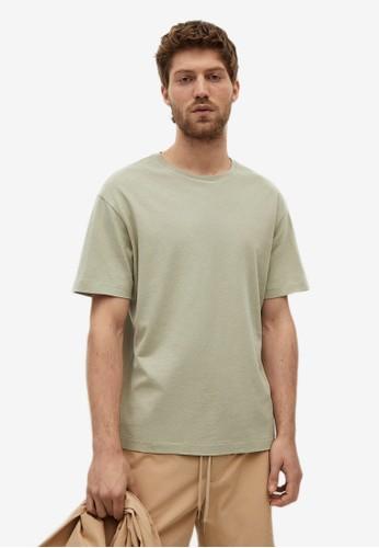MANGO Man green Cotton Linen Regular-Fit T-Shirt DDACAAA2BC8DD3GS_1