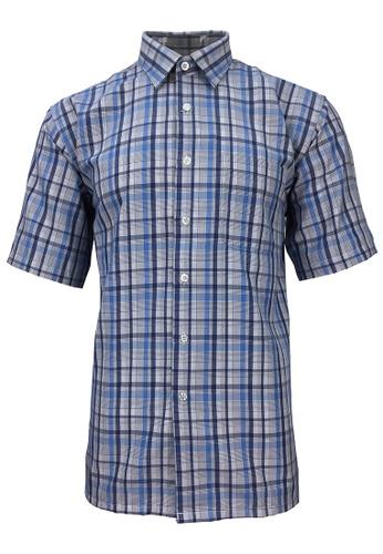 Pacolino blue Pacolino - Korea Polynosic Wrinkle Free Checker Formal Casual Short Sleeve Men Shirt 80A35AAB6A886CGS_1