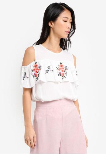 ZALORA white Embroidered Sleeveless Ruffle Top AA874AA7B0313DGS_1