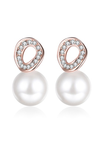 Kings Collection gold Austrian Crystal Rose Gold Pearl Earrings 87D7FAC3A1FCDFGS_1