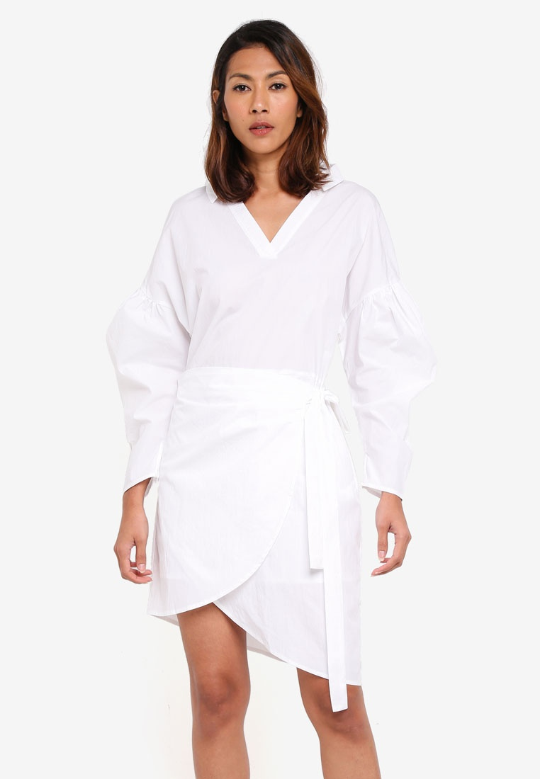 White Long Wrap Sleeve KLEEaisons Dress Detail Off nYY6r1xq5w