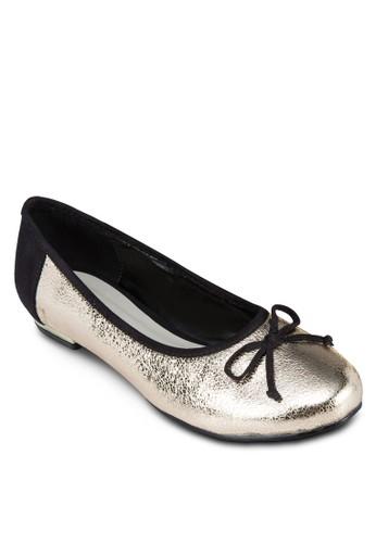 蝴蝶結zalora 順豐亮面平底鞋, 女鞋, 鞋