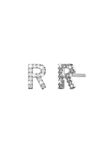 925 Signature gold 925 SIGNATURE Solid 925 Sterling Silver Glamour Alphabet Letter Earrings  - R 815B5AC4B7E329GS_1