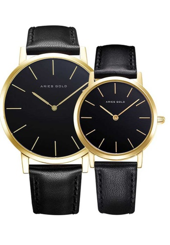 Aries Gold black Aries Gold Couple Set -  Santos G 1022 & L 1023 G-BK  Gold and Black Leather Watch 8E8EEAC50AB0B1GS_1