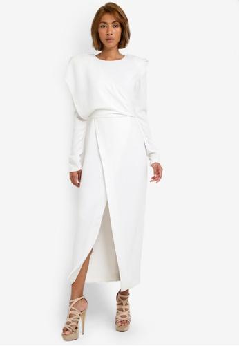 AfiqM white White Drape Dress AF546AA0S2M1MY_1