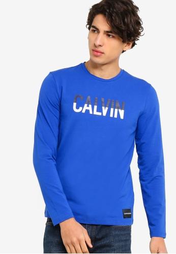 Calvin Klein 藍色 長袖Fashion LOGO修身T恤 - Calvin Klein 牛仔褲 F18F0AAF684030GS_1