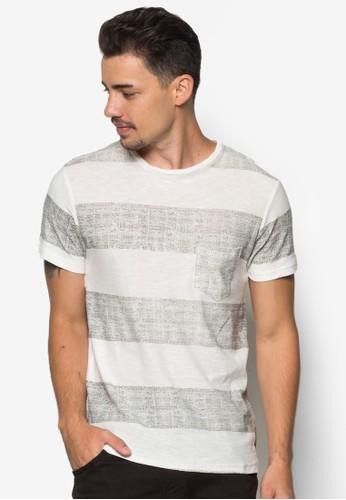 Damon 條紋口esprit hong kong袋TEE, 服飾, 條紋T恤