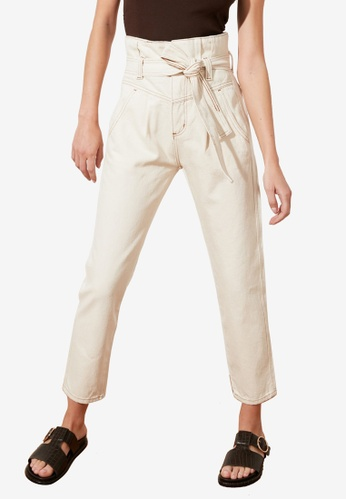 Trendyol white High Waist Belted Jeans 2ABB9AA692EA80GS_1