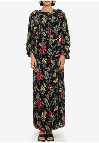 Zalia black Floral Gathered Dress 4A4DCAA7109E45GS_1