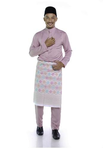 Khalifah by N red and pink and multi Baju Melayu Cekak Musang 1.0 Slim Dusty Pink 9655EAA8124624GS_1
