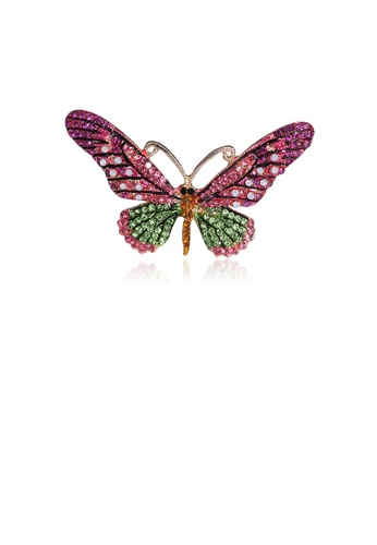 Glamorousky pink Fashion Bright Pink Butterfly Brooch with Cubic Zirconia DB3B3AC4F83F58GS_1