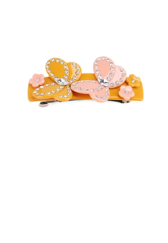 Glamorousky white Fashion and Elegant Double Butterfly Orange Hair Slide with Cubic Zirconia F9168ACB6C3A8BGS_1