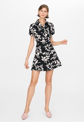 Pomelo black Leaf Print Button Up Dress - Black 40073AA18E116BGS_1