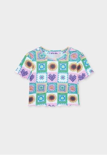Pomelo multi Crochet Floral Crop Top - Multi Color A9030AA598347FGS_1