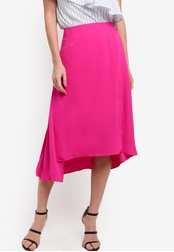 WAREHOUSE pink Asymmetric Skirt WA653AA87RTGMY_1