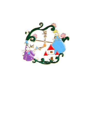 Glamorousky silver Fashion and Lovely Plated Gold Fairy Tale Alice Garden Brooch 715BDAC8B06F7AGS_1