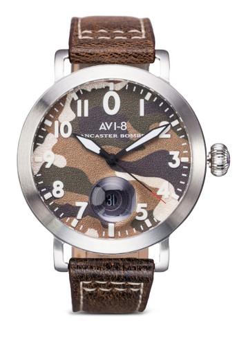 Lancaster zalora是哪裡的牌子Bomber 迷彩皮革數字圓錶, 錶類, 皮革錶帶