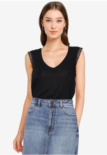 Springfield black Lace Shoulders T-Shirt E28EDAAD37700BGS_1