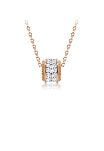 Glamorousky white 925 Sterling Silver Simple Plated Rose Gold Geometric Cylindrical Pendant with Cubic Zircon and Necklace 93C05ACADC1081GS_1